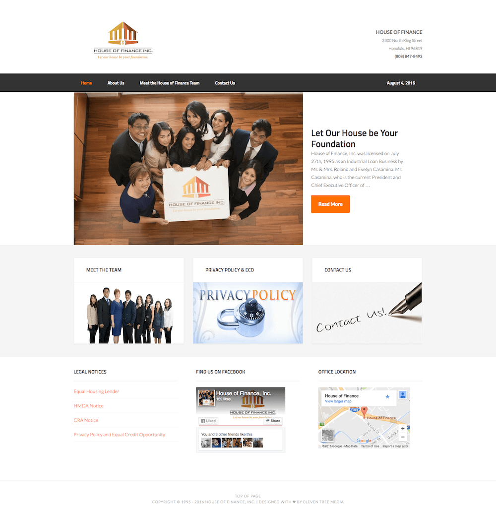 House of Finance Website Design