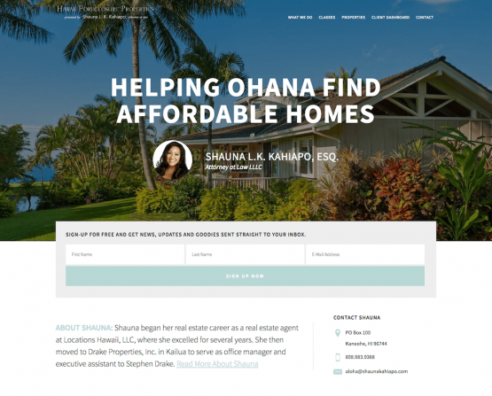 Hawaii Foreclosure Properties Website Design