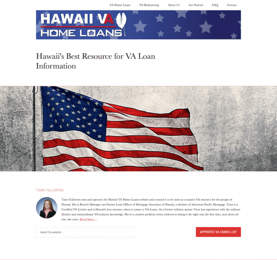 Hawaii VA Home Loans Website Design