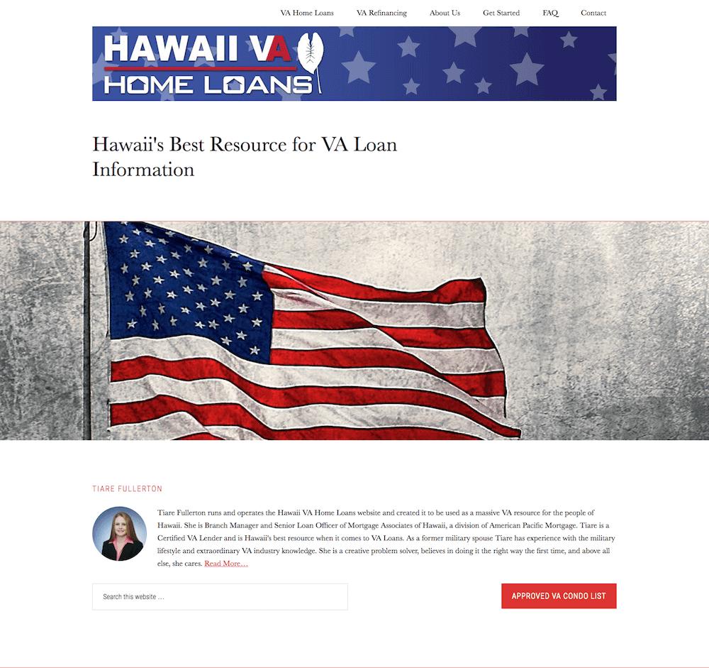Hawaii VA Home Loans Website Design