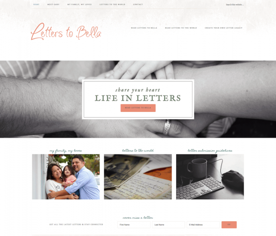 Letters to Bella Website Design