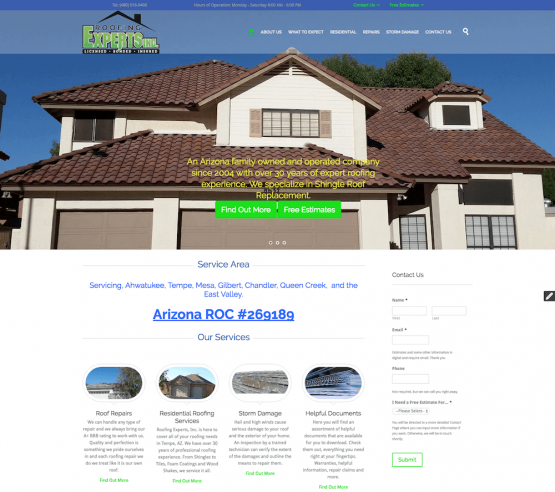 Roofing Experts, Inc Website Design