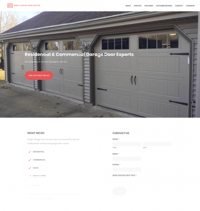 Greg's Garage Door Service Website Design