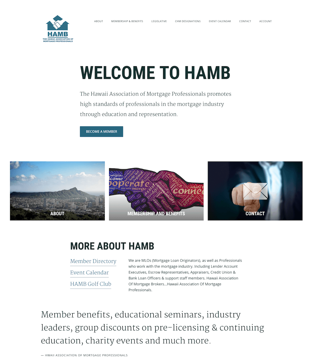 Hawaii Association of Mortgage Professionals Website Design