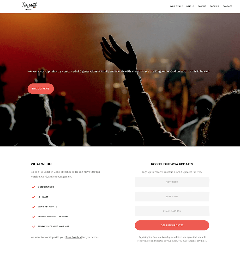 Rosebud Worship Website Design